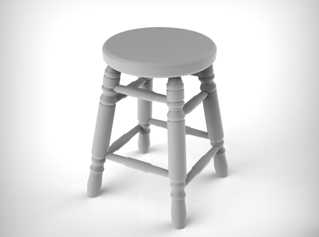 Stool 03. 1:35 Scale x8 Units in Smooth Fine Detail Plastic