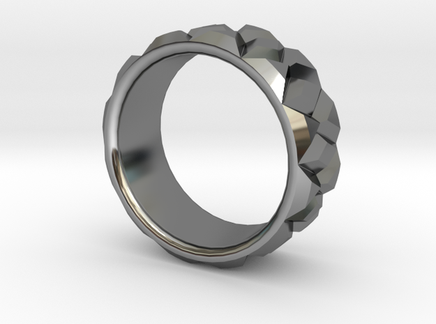 Diamond Ring - Curved in Fine Detail Polished Silver