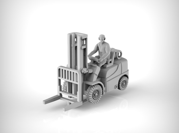ForkLift 01. 1:87 Scale (HO). in Smooth Fine Detail Plastic