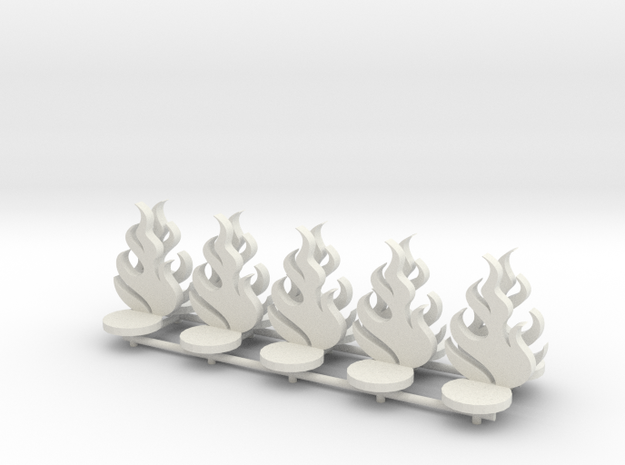 Flames with round base (x10) in White Natural Versatile Plastic