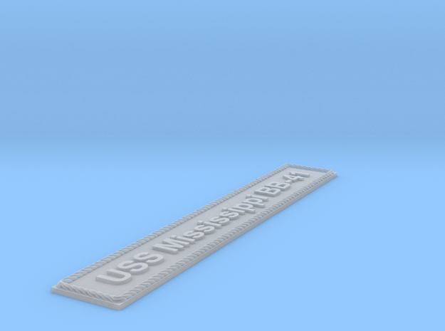 Nameplate USS Mississippi BB-41 (10 cm) in Smoothest Fine Detail Plastic