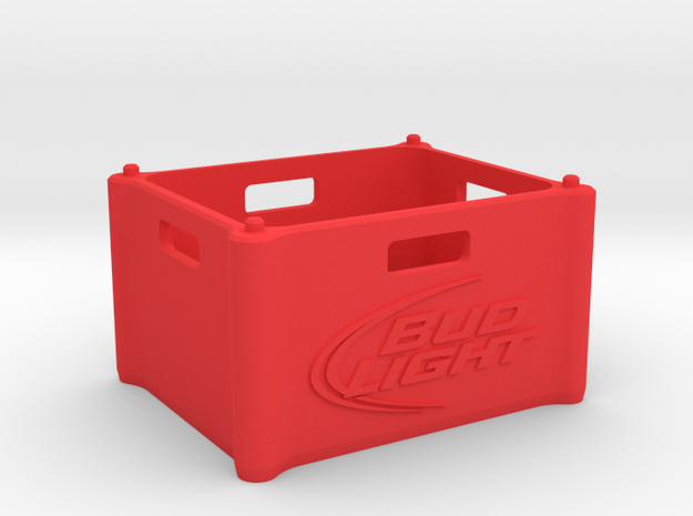 "Beer Crate ""Bud Light"" 1:10 in Red Processed Versatile Plastic: 1:10"