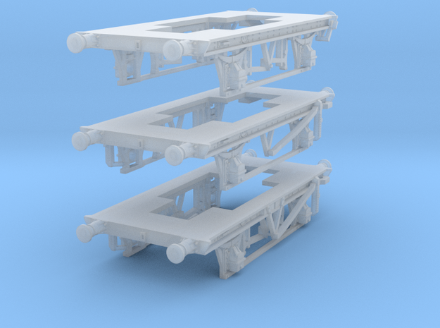 Three GWR O13 China Clay wagon chassis in Smoothest Fine Detail Plastic