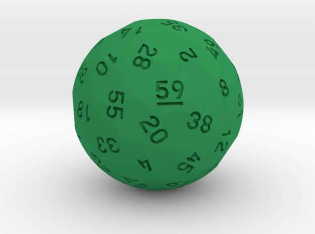 """d59 Sphere Dice """"Omega-Totative"""" in Green Processed Versatile Plastic: Medium"""