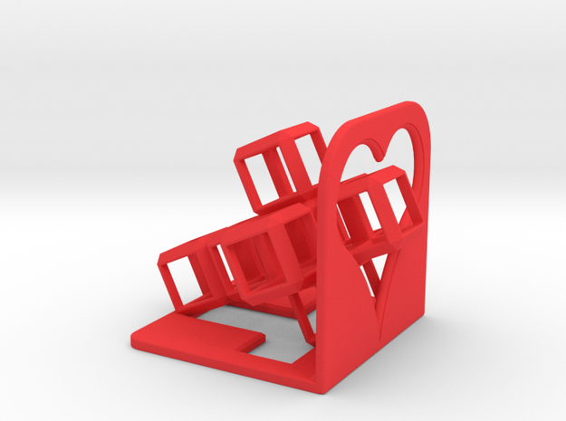 SCULPTURE: HyperCube 3D-Logo (36 x 36 x 36 mm) in Red Processed Versatile Plastic