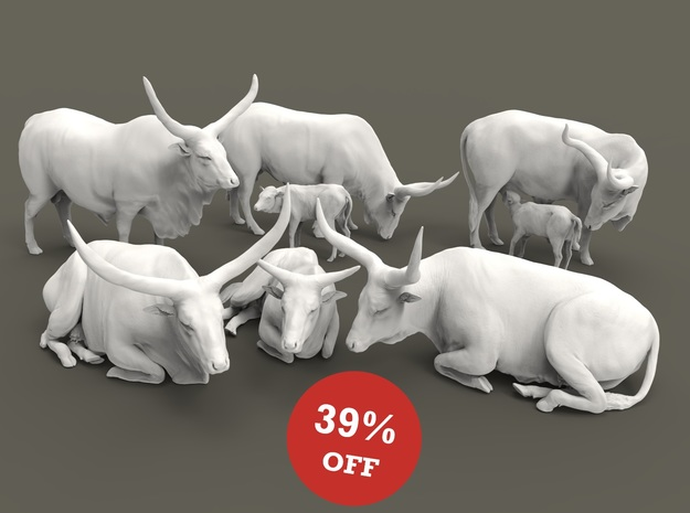 Ankole-Watusi Set 1:87 seven different pieces in Smooth Fine Detail Plastic