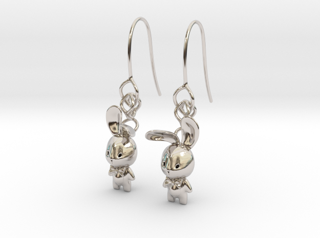 Bunny Earring in Rhodium Plated Brass