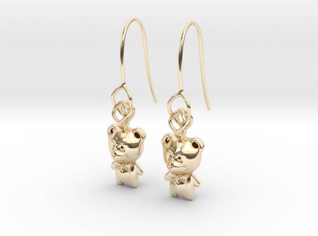 Teddy Earring in 14k Gold Plated Brass