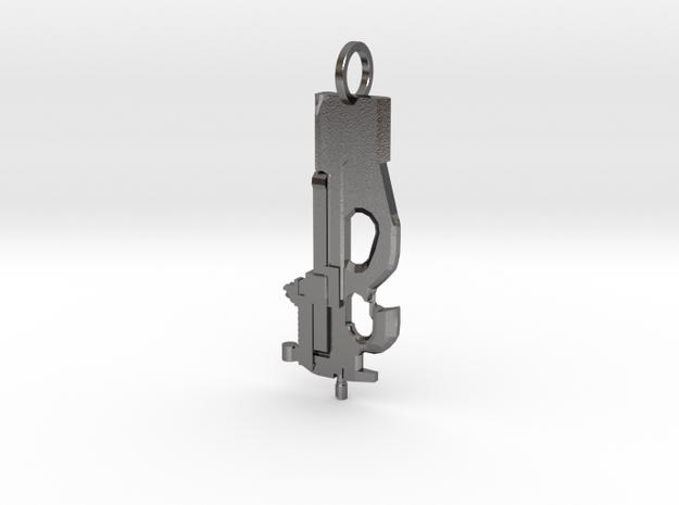 P90 gun pendant in Polished Nickel Steel