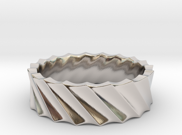 Slant Wave Ring _ A in Rhodium Plated Brass: 8 / 56.75
