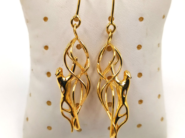Snow leopard filigree earring in 14k Gold Plated Brass