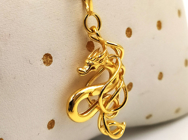 Mountain dragon pendant in 14k Gold Plated Brass