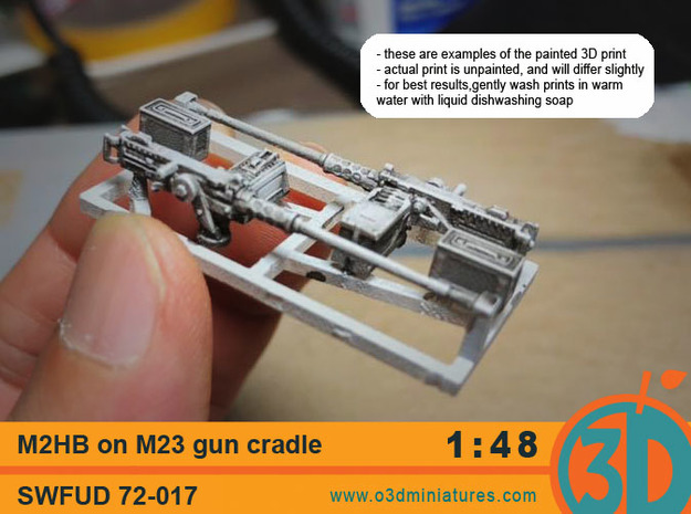 M2HB on M23 gun cradle 1/48 scale  in Smooth Fine Detail Plastic