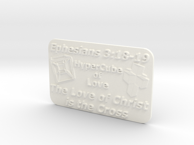 Plaque HyperCube  (60 x 36 mm) in White Processed Versatile Plastic