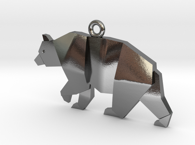 bear pendant in Polished Silver