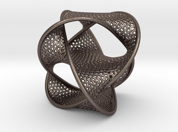 Borrometal (fine hexagonal mesh) in Polished Bronzed Silver Steel