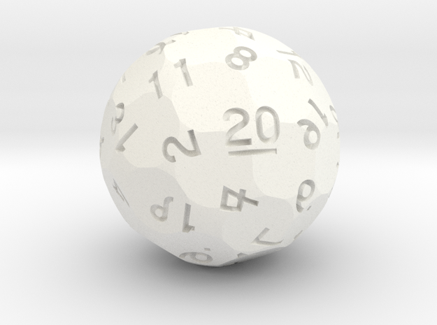 Vigesimal d20 [d40] [Sphere] in White Processed Versatile Plastic