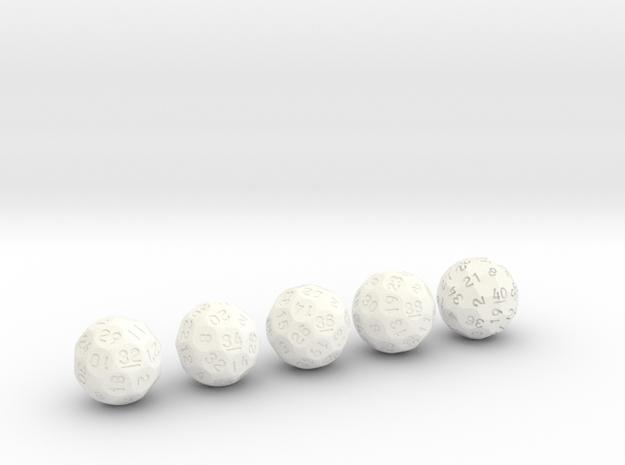 d32 through d40 Evens Sphere Dice in White Processed Versatile Plastic