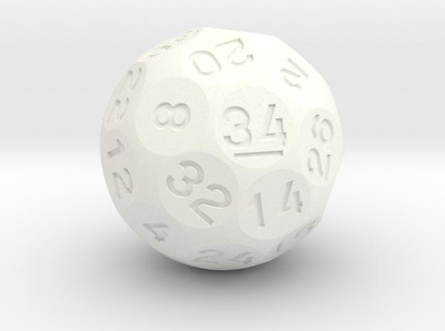 d34 Sphere Dice in White Processed Versatile Plastic