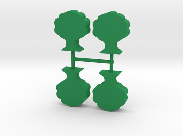 Oak Tree meeple, 4-set in Green Processed Versatile Plastic