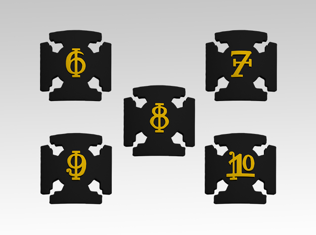 Veteran Squads 6-10 Shoulder Icons x50 in Smooth Fine Detail Plastic