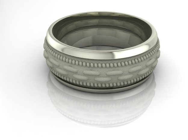 Patterned gents band  in Fine Detail Polished Silver