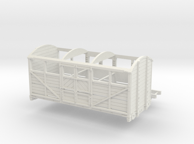 OO scale LBSCR 6 Ton Cattle Wagon in White Natural Versatile Plastic