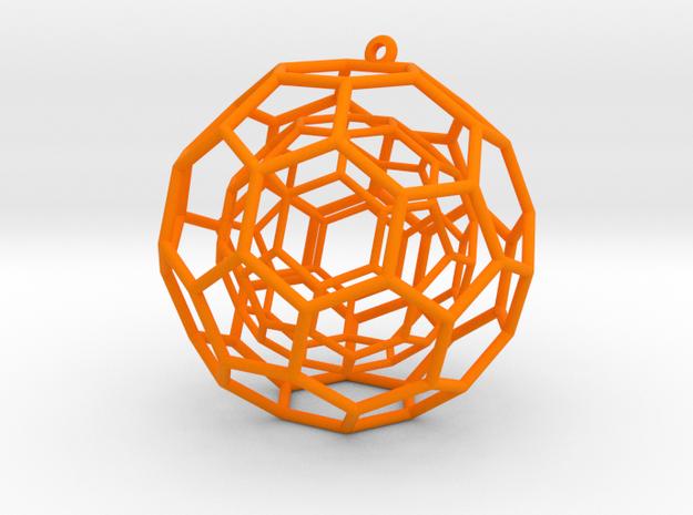 fullerene ball in a ball bauble ornament in Orange Processed Versatile Plastic