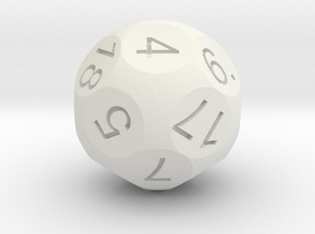 D18 Sphere Dice in White Natural Versatile Plastic