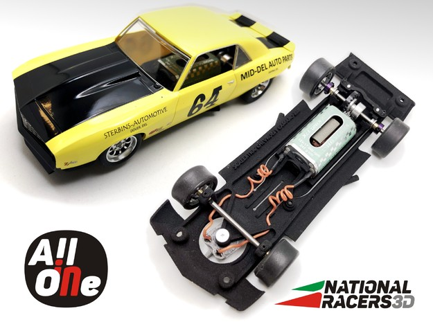 Chassis - Scalextric Chevrolet Camaro 69 (In AiO) in Black PA12