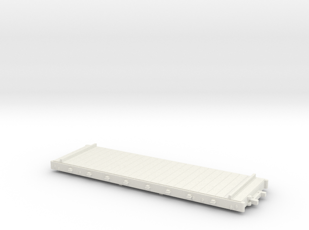 HO Harlan & Hollingsworth Platform Car W/O Stakes in White Natural Versatile Plastic