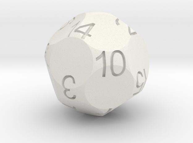 Alt D16 Sphere Dice in White Natural Versatile Plastic