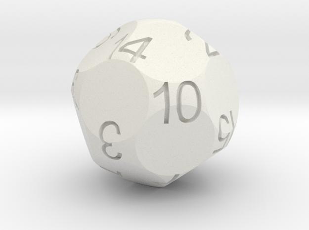 Alt D16 Sphere Dice in White Natural Versatile Plastic