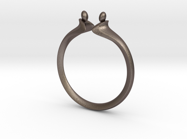 Duality Ring M6 in Polished Bronzed-Silver Steel