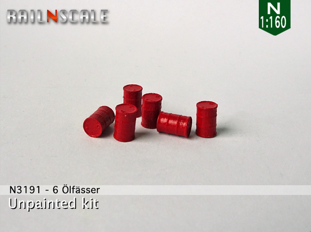 6 Ölfässer (N 1:160) in Smooth Fine Detail Plastic
