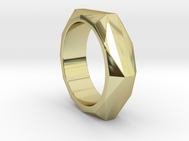 Hexagon to Dodecagon Ring in 18k Gold Plated Brass: 8 / 56.75