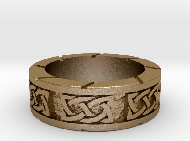 Celtic ring in Polished Gold Steel