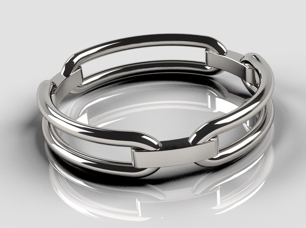 Chain Ring in Polished Silver: 10 / 61.5