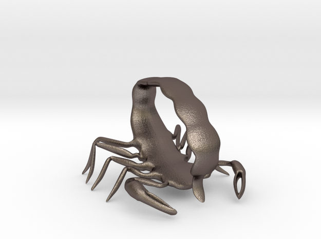 Scorpion Strike Pose in Polished Bronzed Silver Steel