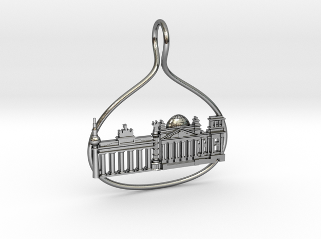 Berlin Cityscape Skyline Pendant in Polished Silver