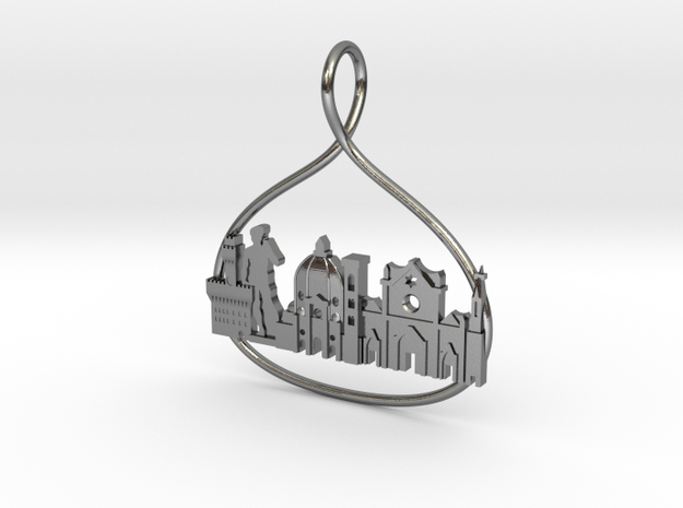 Florence Cityscape Skyline Pendant in Polished Silver