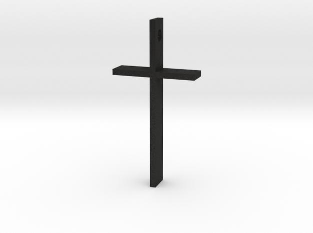 "Simple Cross Slide Pendant (2"" x 1"") in Black Acrylic"