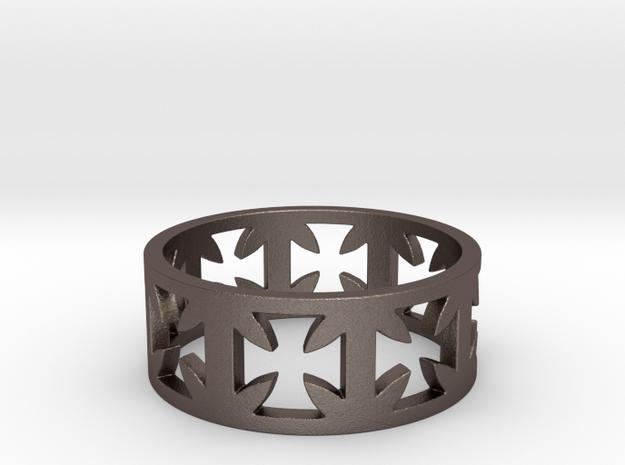 Outlaw Biker Cross Ring Size 14 in Polished Bronzed Silver Steel