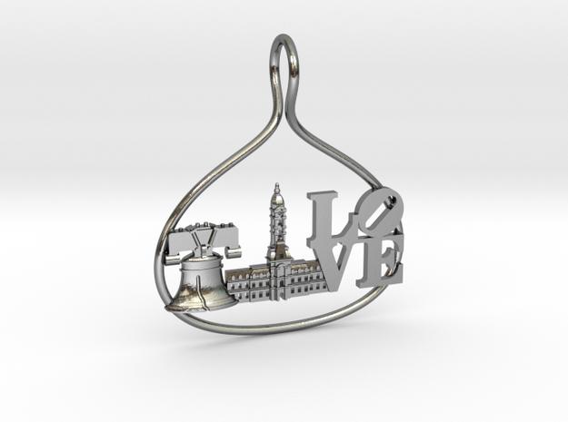 Philadelphia Cityscape Skyline Pendant in Polished Silver