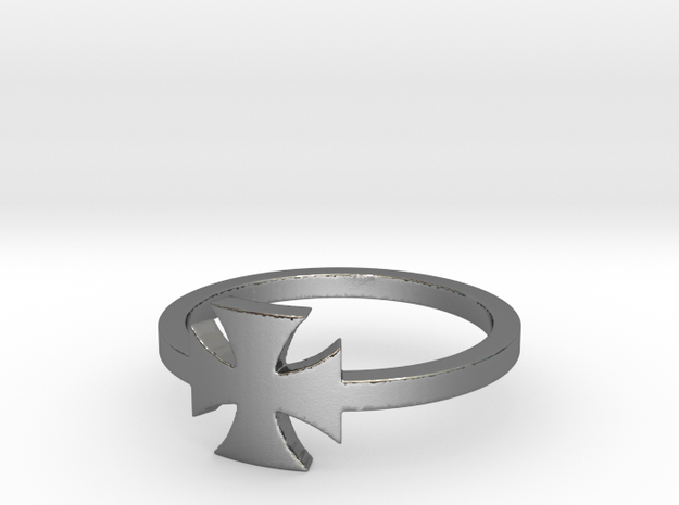 Outlaw Biker Iron Cross (small) Ring Size 13 in Polished Silver