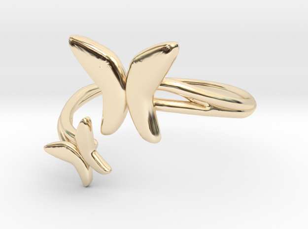 Butterfly Pair Ring Size 8--18.2mm in 14K Yellow Gold