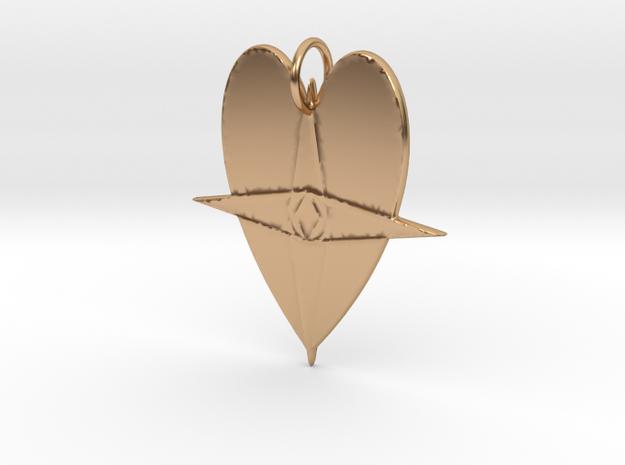 Heart Map Pendant in Polished Bronze: Medium