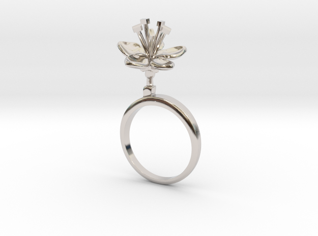 Apple ring with one small open flower in Rhodium Plated Brass: 7.25 / 54.625