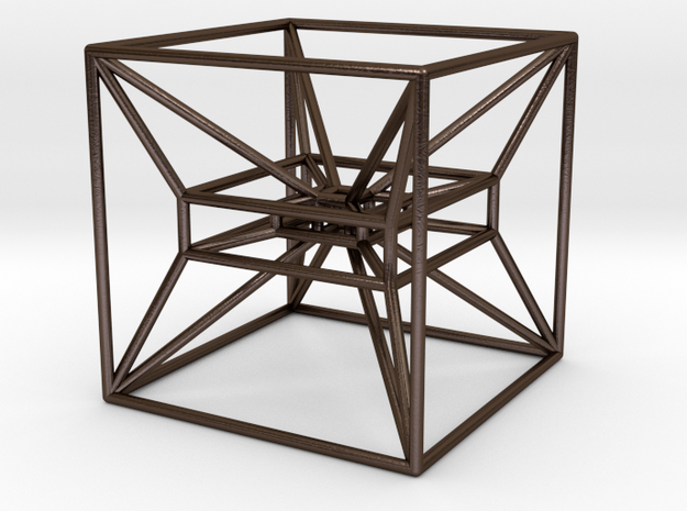 Ambiguous Cube in Polished Bronze Steel