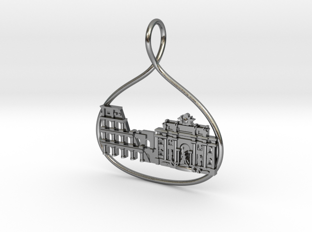 Rome Cityscape Skyline Pendant in Polished Silver